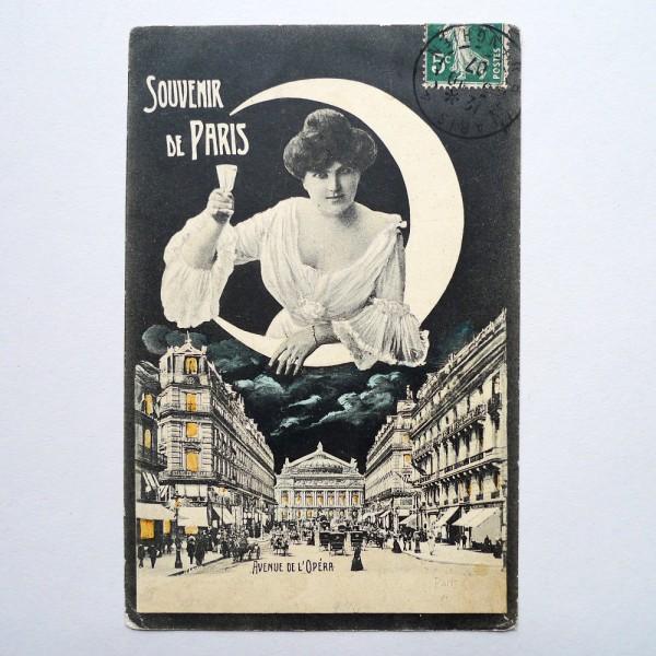 CPA souvenir de l'Opéra allégorie de la nuit 1907 - STDP vue 2