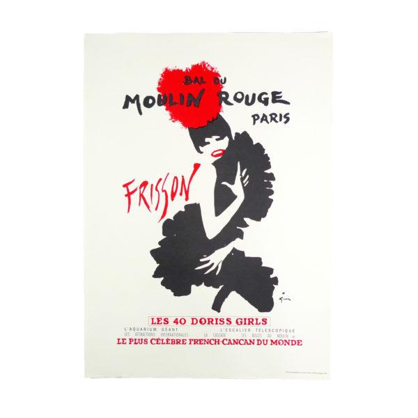 Ancienne affiche Moulin Rouge revue Frisson Rene Gruau 1965 Souviens Toi De Paris vintage poster vue 0b