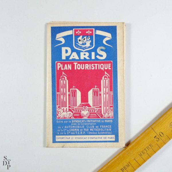 Ancien Plan tourisitique de Paris 1937 Souviens Toi De Paris vue 1 Paris vintage