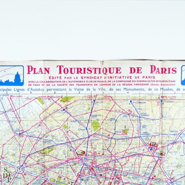 Ancien Plan tourisitique de Paris 1937 Souviens Toi De Paris vue 2 Paris vintage