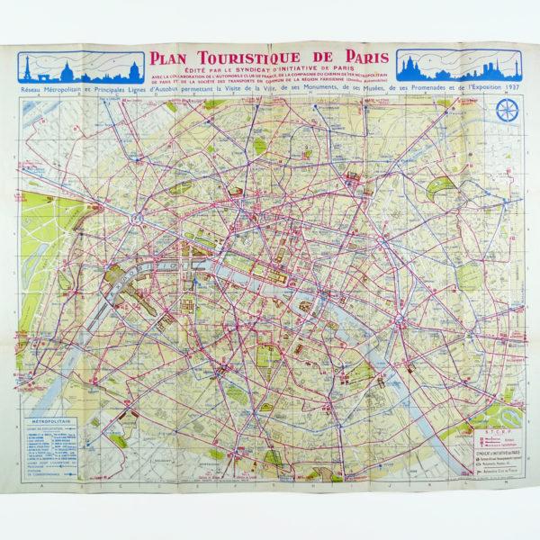 Ancien Plan touristique de Paris 1937 Souviens Toi De Paris vue 0 Paris vintage