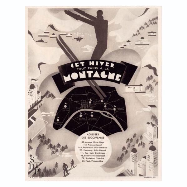Cet Hiver tout Paris à la Montagne publicité Berthelot litho Draeger circa 1930 Souviens Toi De Paris vue 0