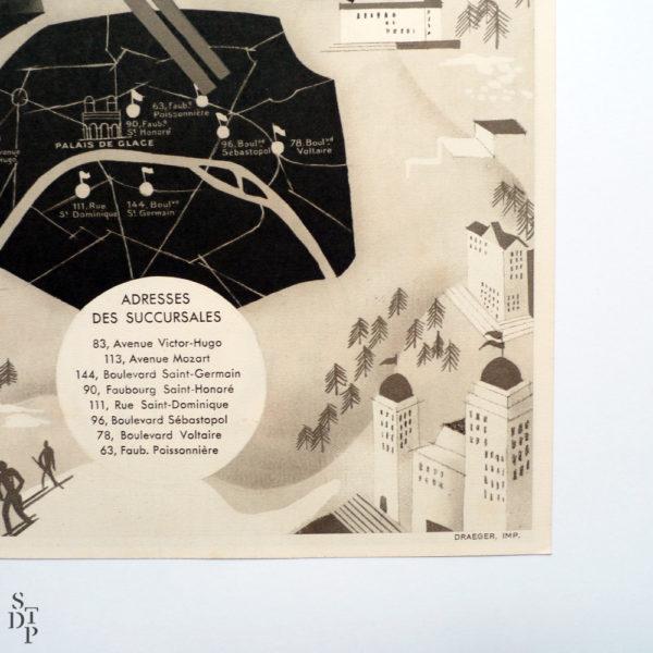 Cet Hiver tout Paris à la Montagne publicité Berthelot litho Draeger circa 1930 Souviens Toi De Paris vue 1