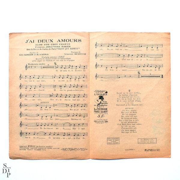 J'ai deux amours Partiton pf Joséphine Baker 1930 Souviens Toi De Paris vintage vue 1