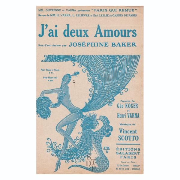 J'ai deux amours partition Joséphine Baker 1930 Souviens Toi De Paris vintage partition ancienne vue 0