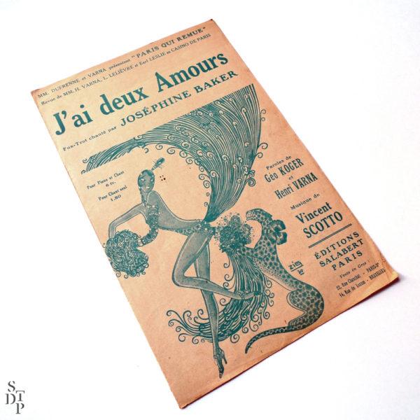J'ai deux amours partition Joséphine Baker 1930 Souviens Toi De Paris vintage partition ancienne vue 2