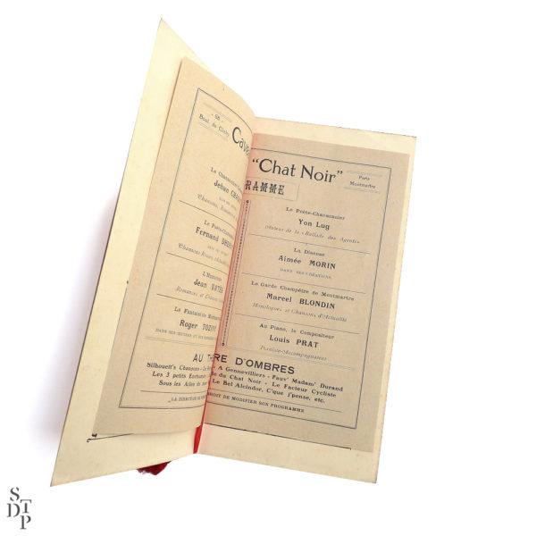Ancien programme du Caveau du Chat Noir 1914 vue 2 Souviens Toi De Paris Montmartre vintage