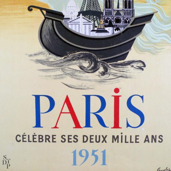 Affiche Paris célèbre ses deux mille ans Chapelain-Midy 1951 Souviens Toi De Paris vue 2 french vintage poster
