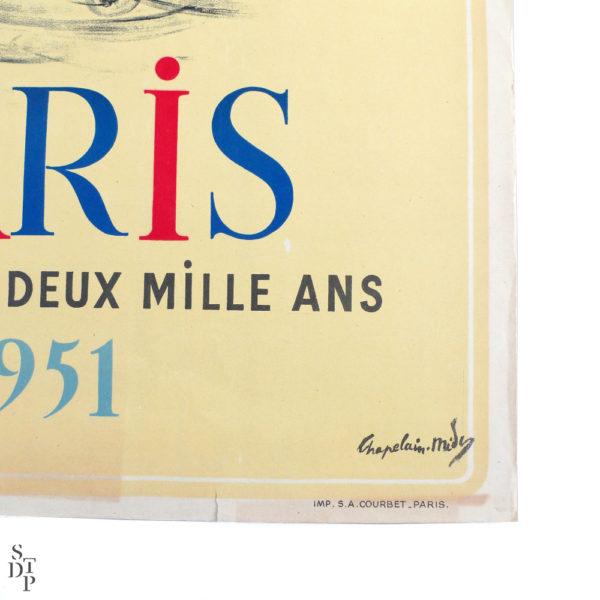 Affiche Paris célèbre ses deux mille ans Chapelain-Midy 1951 Souviens Toi De Paris vue 3 french vintage poster