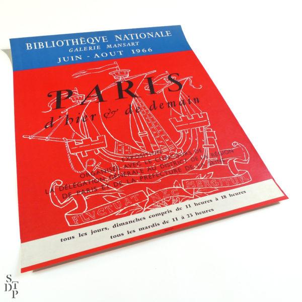 Affiche Paris d'hier et de demain Bibliothèque Nationale Mansart Mourlot 1966 vue 1 Souviens Toi De Paris vintage