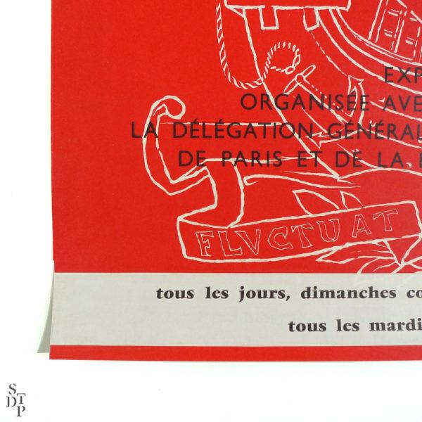 Affiche Paris d'hier et de demain Bibliothèque Nationale Mansart Mourlot 1966 vue 3 Souviens Toi De Paris vintage
