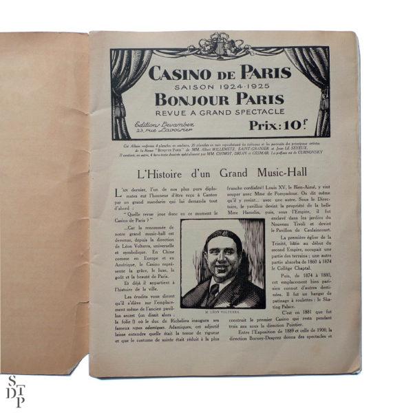 Bonjour Paris Mistinguett - Programme du Casino de Paris par C. Gesmar - 1925 Souviens Toi De Paris vue 2 Paris vintage