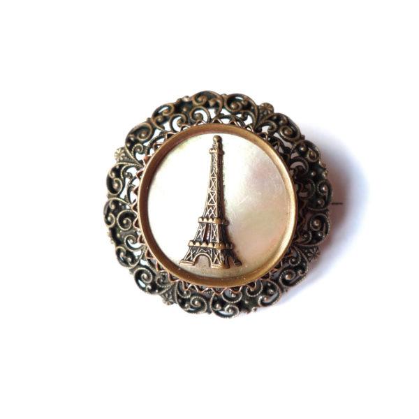 Broche ancienne nacrée Paris - Circa 1900 vue 0 Souviens Toi De Paris vintage souvenir