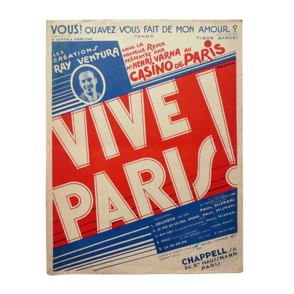 Partition Vive Paris grand format Casino de Paris 1933 - Souviens Toi De Paris vue 0 vintage music sheet