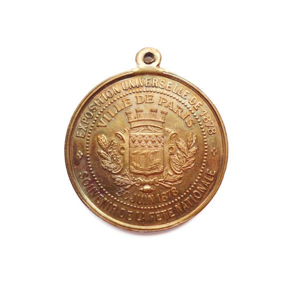 Médaille Fête Nationale 30 juin 1878 inauguration de la Statue de la République Souviens Toi De Paris vue 0
