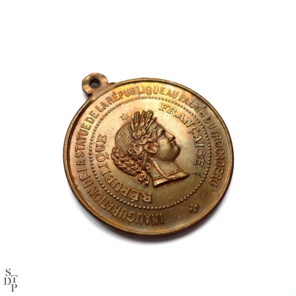 Médaille Fête Nationale 30 juin 1878 inauguration de la Statue de la République Souviens Toi De Paris vue 1
