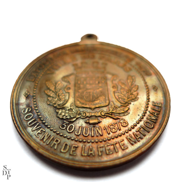 Médaille Fête Nationale 30 juin 1878 inauguration de la Statue de la République Souviens Toi De Paris vue 2