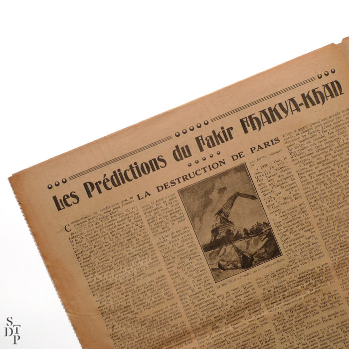 Petit Journal Illustré 22 novembre 1925 prédiction du Fakir Fhakya-Khan destruction de Paris en 1926 Souviens Toi De Paris vue 3