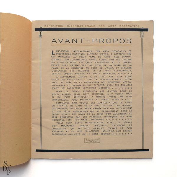 Programme de l'Exposition Internationale des Arts Décoratifs 1925 Souviens Toi De Paris vue 2 vintage art deco
