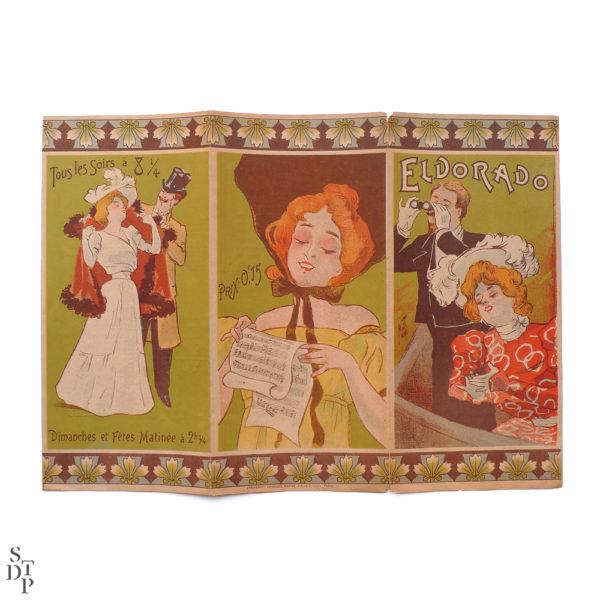 Théâtre de l'Eldorado programme illustré par Ferdinand Misti Mifliez - 1898 vue 1 Souviens Toi De Paris vintage