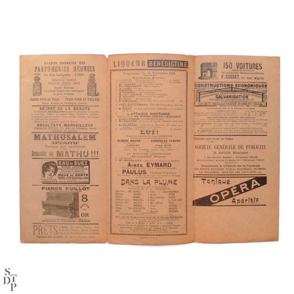 Théâtre de l'Eldorado programme illustré par Ferdinand Misti Mifliez - 1898 vue 2 Souviens Toi De Paris vintage