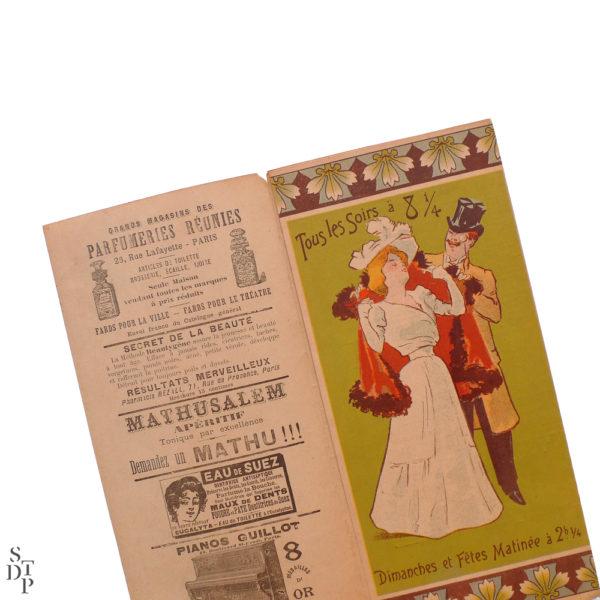 Théâtre de l'Eldorado programme illustré par Ferdinand Misti Mifliez - 1898 vue 3 Souviens Toi De Paris vintage