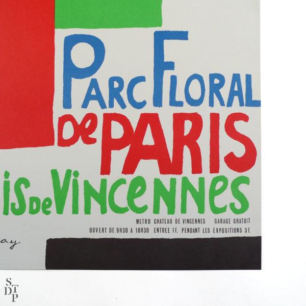 Ancienne affiche Parc Floral de Paris Bois de Vincennes Sonia Delaunay Souviens Toi De Paris vue 3 french vintage poster