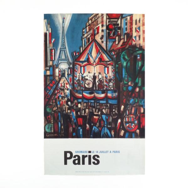 Ancienne affiche le 14 juillet à Paris Gromaire Souviens Toi De Paris vintage poster vue 0b