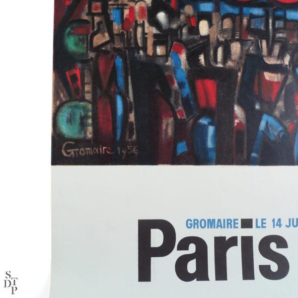 Ancienne affiche le 14 juillet à Paris Gromaire Souviens Toi De Paris vintage poster vue 2