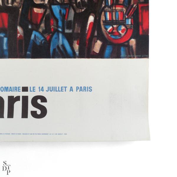 Ancienne affiche le 14 juillet à Paris Gromaire Souviens Toi De Paris vintage poster vue 3