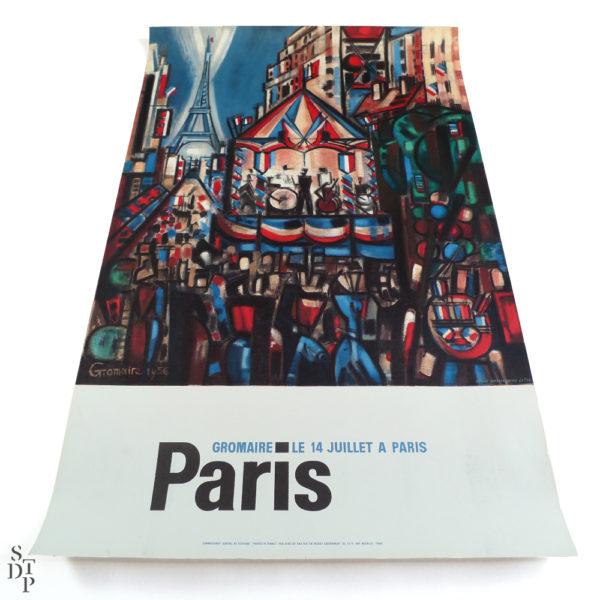 Ancienne le 14 juillet à Paris Gromaire Souviens Toi De Paris vintage paris poster vue 1