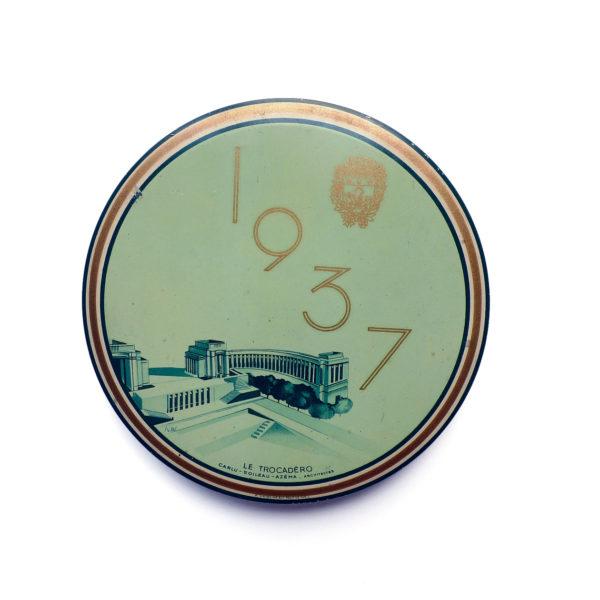 Boite tole lithographiée souvenir du Trocadero 1937 vue 0 Souviens Toi De Paris vintage souvenir