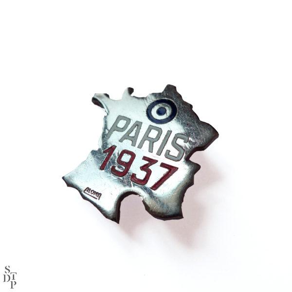 Broche France Paris 1937 Souviens Toi De Paris vue 2 french vintage souvenir