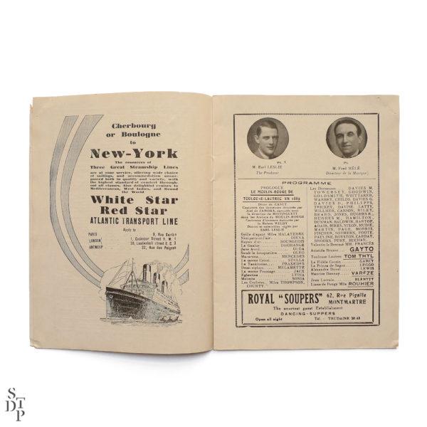 Programme du Moulin Rouge revue Mistinguett Charles Gesmar 1925 Souviens Toi De Paris vintage souvenir shop vue 3