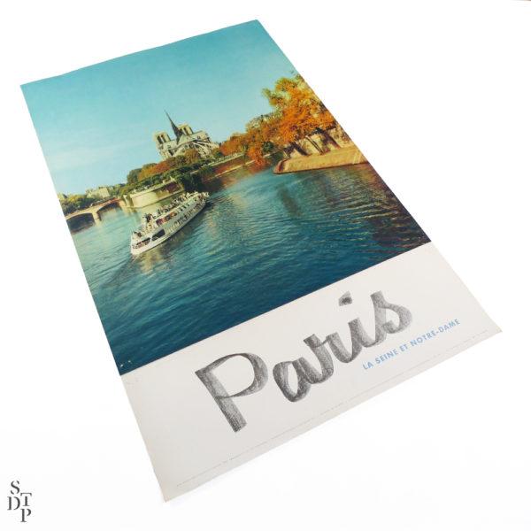 Affiche tourisme Paris la Seine et Notre-Dame Fronval 1960 Souviens Toi De Paris vintage poster vue 1