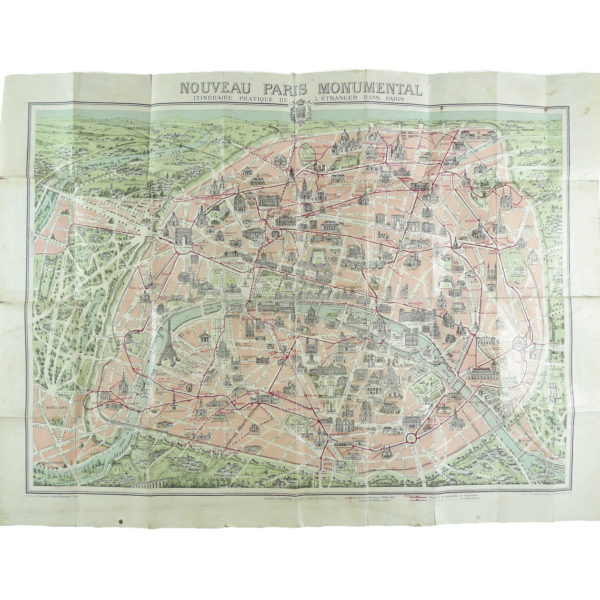 Ancien Plan de Paris monumental Garnier Frères 1910 Souviens Toi De Paris vintage map vue 0