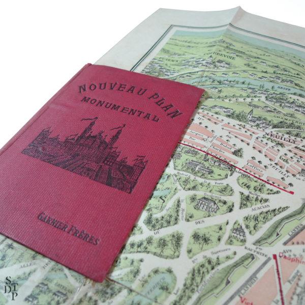 Ancien Plan de Paris monumental Garnier Frères 1910 Souviens Toi De Paris vintage map vue 1