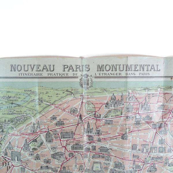Ancien Plan de Paris monumental Garnier Frères 1910 Souviens Toi De Paris vintage map vue 2
