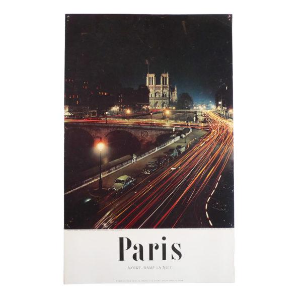 Ancienne affiche tourisme Paris Notre-Dame la nuit Machatschek 1956 Souviens Toi De Paris vintage poster vue 0