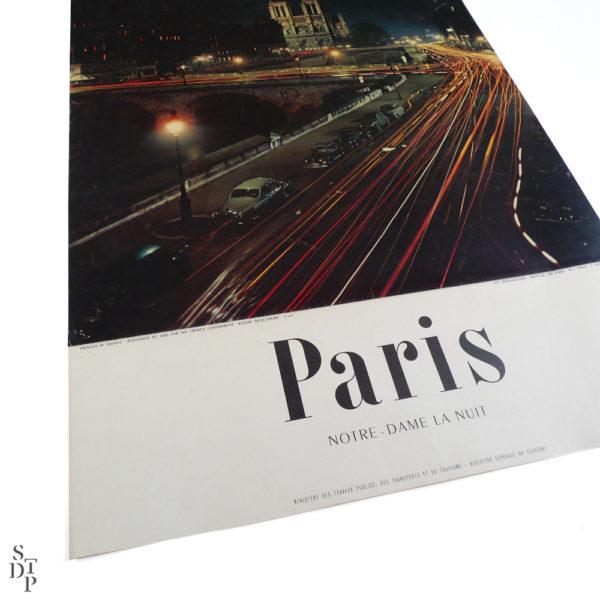 Ancienne affiche tourisme Paris Notre-Dame la nuit Machatschek 1956 Souviens Toi De Paris vintage poster vue 1
