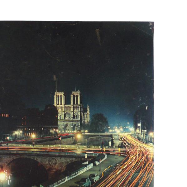 Ancienne affiche tourisme Paris Notre-Dame la nuit Machatschek 1956 Souviens Toi De Paris vintage poster vue 2
