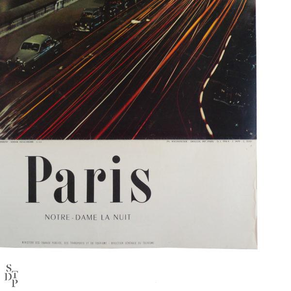 Ancienne affiche tourisme Paris Notre-Dame la nuit Machatschek 1956 Souviens Toi De Paris vintage poster vue 3
