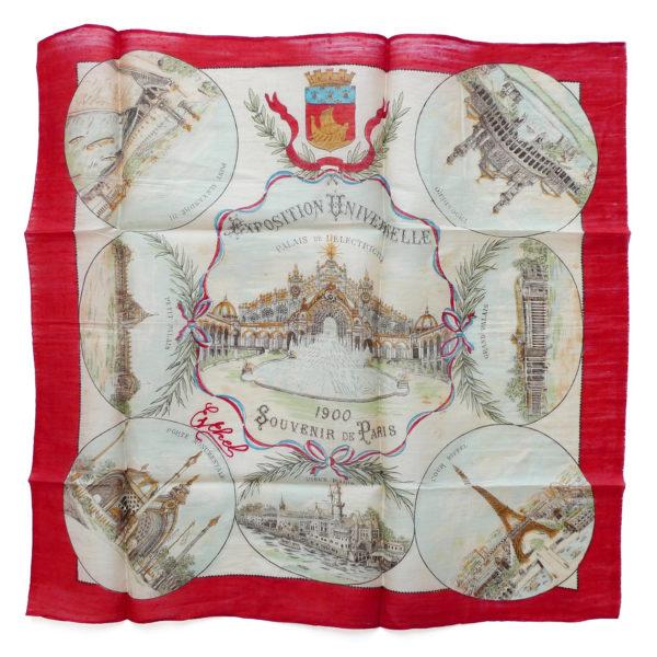 Mouchoir en soie Exposition Universelle souvenir de Paris 1900 Souviens Toi De Paris vintage souvenir 0