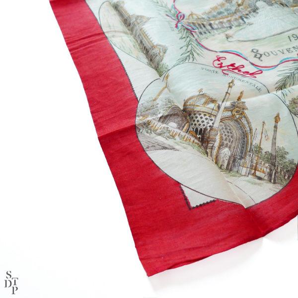 Mouchoir en soie Exposition Universelle souvenir de Paris 1900 Souviens Toi De Paris vintage souvenir vue 1