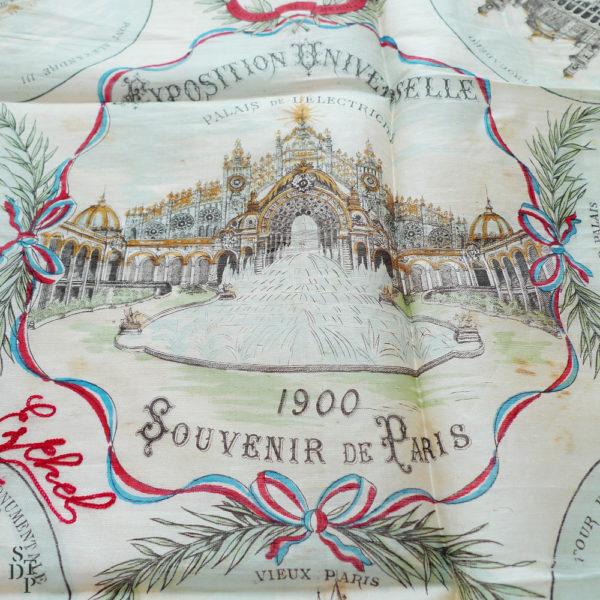 Mouchoir en soie Exposition Universelle souvenir de Paris 1900 Souviens Toi De Paris vintage souvenir vue 2