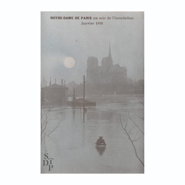 Notre-Dame de Paris un soir de l'inondation Janvier 1910 Souviens Toi De Paris vintage postcard vue 0