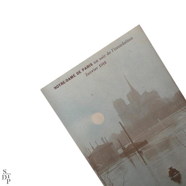 Notre-Dame de Paris un soir de l'inondation Janvier 1910 Souviens Toi De Paris vintage postcard vue 1