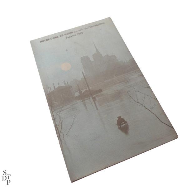 Notre-Dame de Paris un soir de l'inondation Janvier 1910 Souviens Toi De Paris vintage postcard vue 2