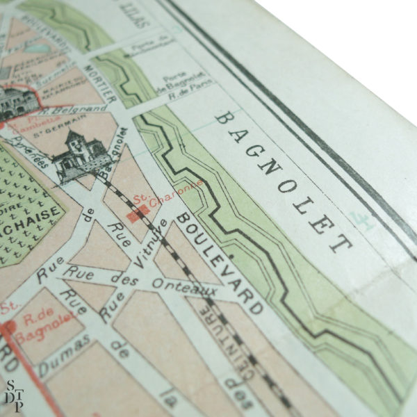 Ancien plan de Paris monumental Taride 1906 Souviens Toi De Paris vintage map vue 3