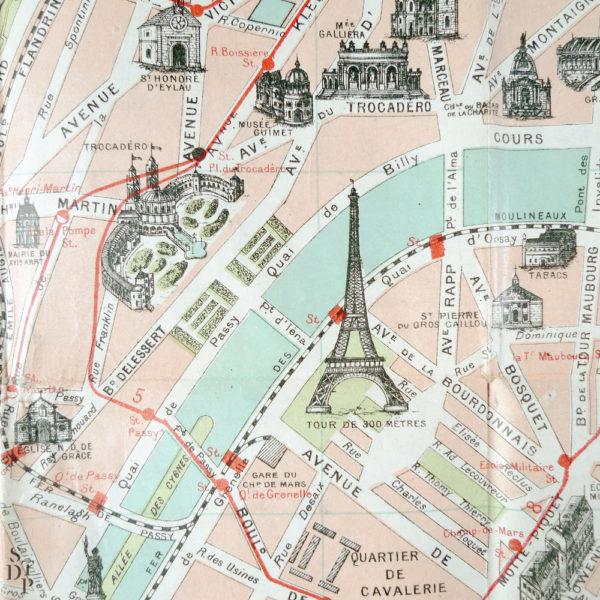 Ancien plan de Paris monumental Taride 1906 Souviens Toi De Paris vintage map vue 4